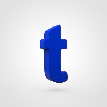 Plastic letter T lowercase. 3D render blue plastic font isolated on white background.