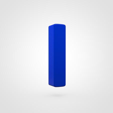 Plastic letter L lowercase. 3D render blue plastic font isolated on white background.