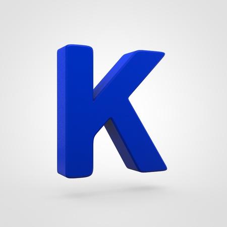 Plastic letter K uppercase. 3D render blue plastic font isolated on white background.