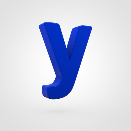 Plastic letter Y lowercase. 3D render blue plastic font isolated on white background.