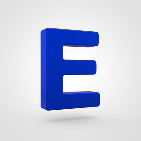 Plastic letter E uppercase. 3D render blue plastic font isolated on white background.