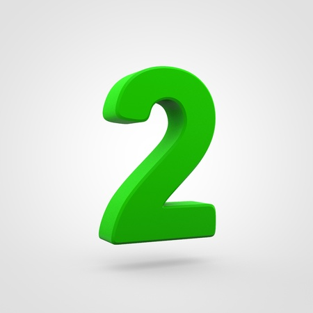 Plastic number 2. 3D render green plastic font isolated on white background.
