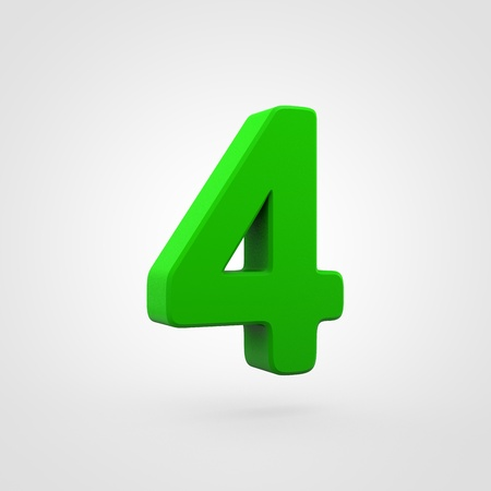 Plastic number 4. 3D render green plastic font isolated on white background.