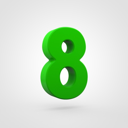 Plastic number 8. 3D render green plastic font isolated on white background. Stock Photo