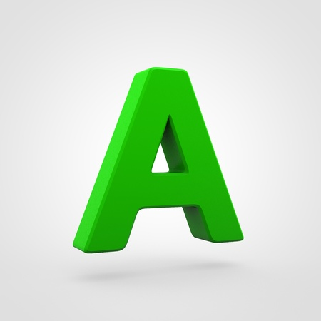 Plastic letter A uppercase. 3D render green plastic font isolated on white background.