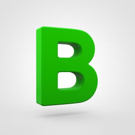 Plastic letter B uppercase. 3D render green plastic font isolated on white background.
