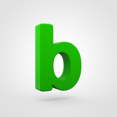 Plastic letter B lowercase. 3D render green plastic font isolated on white background. Stock Photo