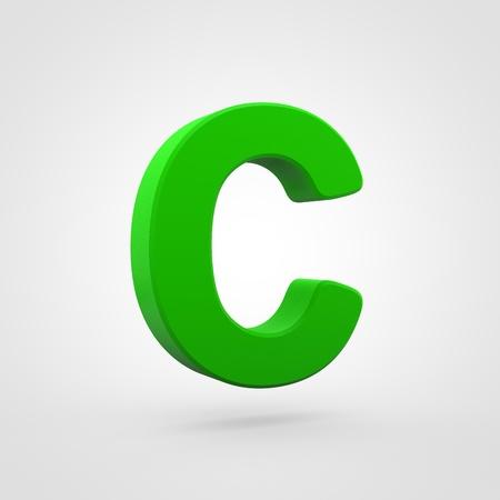 Plastic letter C uppercase. 3D render green plastic font isolated on white background.