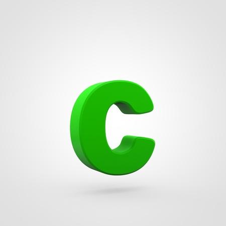 Plastic letter C lowercase. 3D render green plastic font isolated on white background.