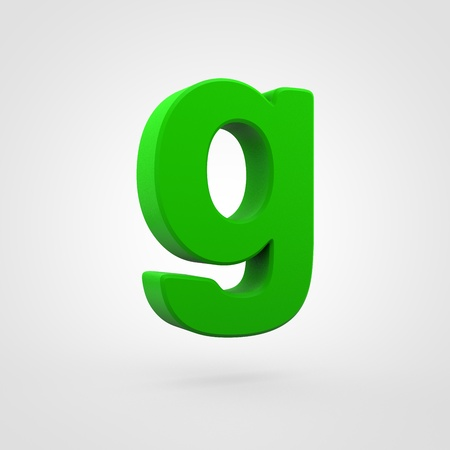 Plastic letter G lowercase. 3D render green plastic font isolated on white background. Stock Photo