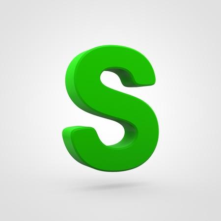 Plastic letter S uppercase. 3D render green plastic font isolated on white background.