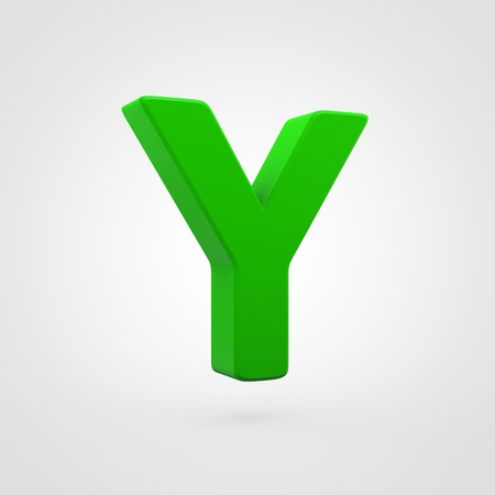 Plastic letter Y uppercase. 3D render green plastic font isolated on white background.