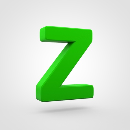 Plastic letter Z uppercase. 3D render green plastic font isolated on white background. Stock Photo