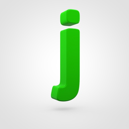 Plastic letter J lowercase. 3D render green plastic font isolated on white background.