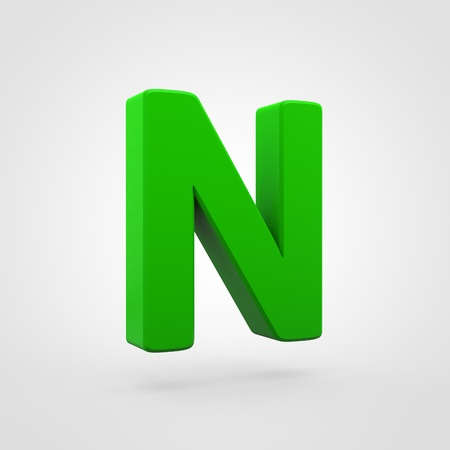 Plastic letter N uppercase. 3D render green plastic font isolated on white background.
