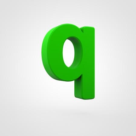 Plastic letter Q lowercase. 3D render green plastic font isolated on white background.