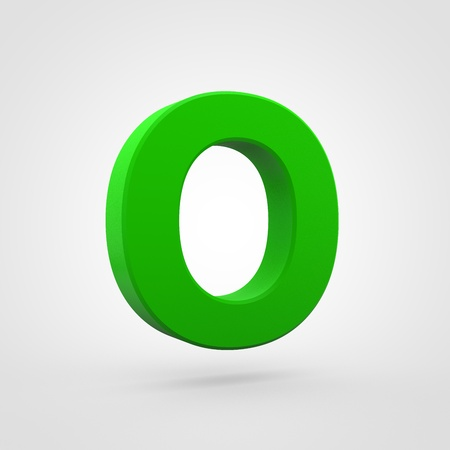 Plastic letter O uppercase. 3D render green plastic font isolated on white background.