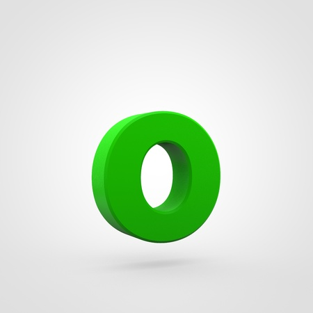Plastic letter O lowercase. 3D render green plastic font isolated on white background. Stock Photo