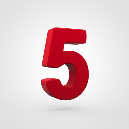 Plastic number 5. 3D render red plastic font isolated on white background.