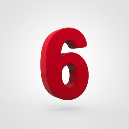 Plastic number 6. 3D render red plastic font isolated on white background.
