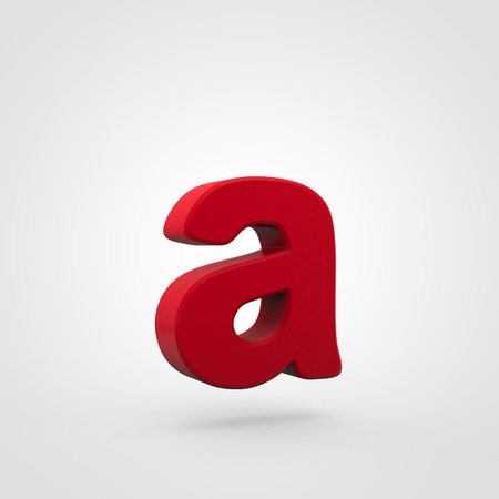 Plastic letter A lowercase. 3D render red plastic font isolated on white background.