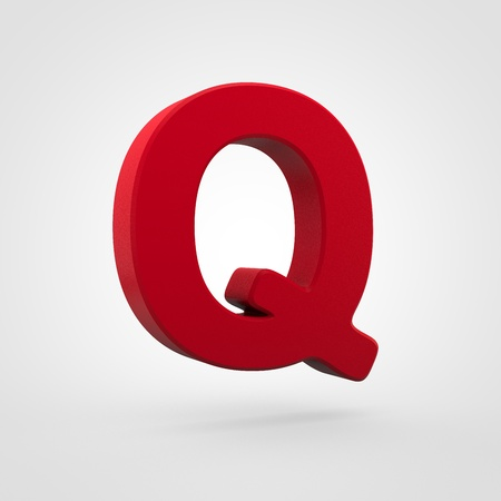 Plastic letter Q uppercase. 3D render red plastic font isolated on white background.