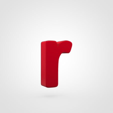 Plastic letter R lowercase. 3D render red plastic font isolated on white background.