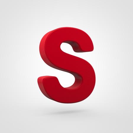 Plastic letter S uppercase. 3D render red plastic font isolated on white background.