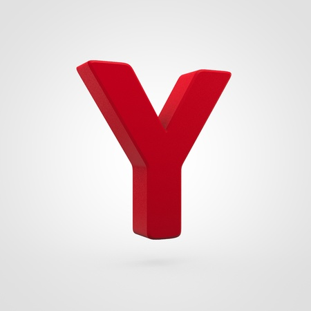 Plastic letter Y uppercase. 3D render red plastic font isolated on white background.