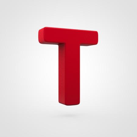 Plastic letter T uppercase. 3D render red plastic font isolated on white background. Reklamní fotografie