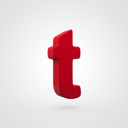 Plastic letter T lowercase. 3D render red plastic font isolated on white background. Reklamní fotografie