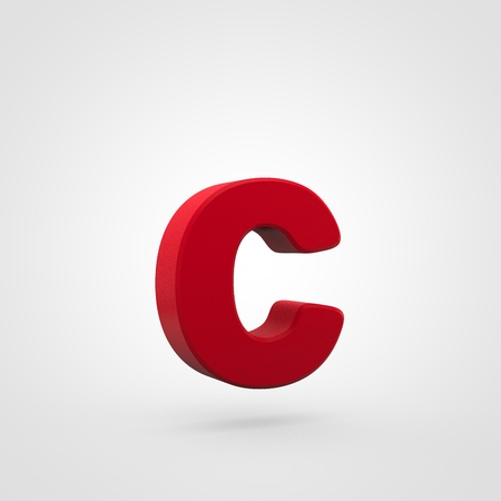 Plastic letter C lowercase. 3D render red plastic font isolated on white background. Stock Photo