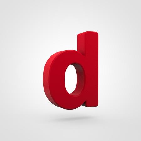 Plastic letter D lowercase. 3D render red plastic font isolated on white background. Reklamní fotografie