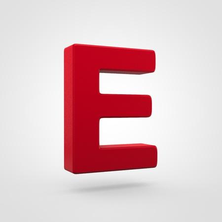 Plastic letter E uppercase. 3D render red plastic font isolated on white background.