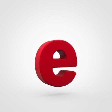 Plastic letter E lowercase. 3D render red plastic font isolated on white background. Reklamní fotografie