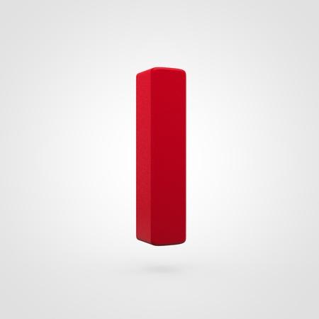 Plastic letter I uppercase. 3D render red plastic font isolated on white background.