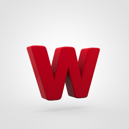 Plastic letter W lowercase. 3D render red plastic font isolated on white background.