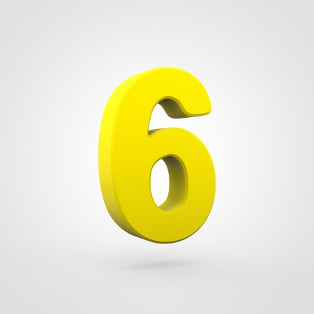 Plastic number 6. 3D render yellow plastic font isolated on white background. Stock Photo