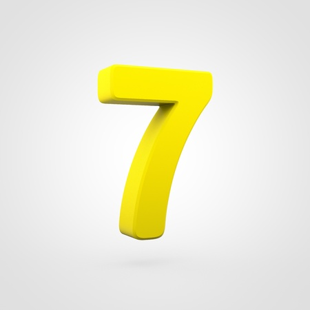 Plastic number 7. 3D render yellow plastic font isolated on white background. 스톡 콘텐츠
