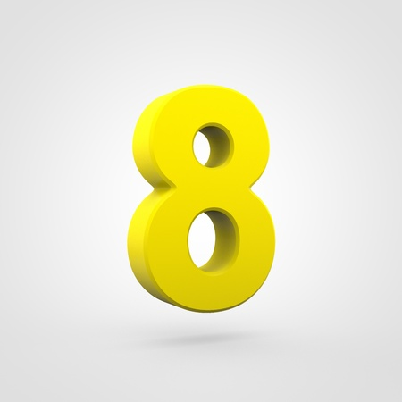 Plastic number 8. 3D render yellow plastic font isolated on white background. Stock Photo