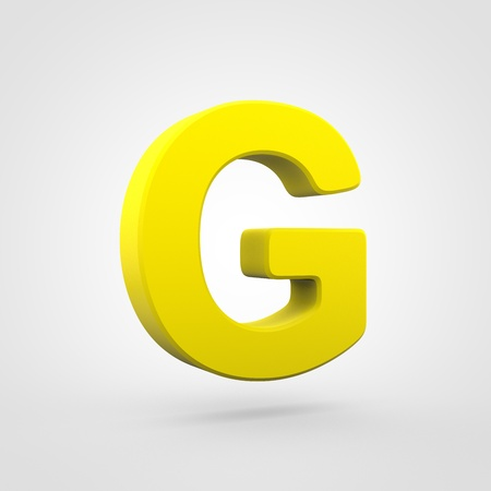 Plastic letter G uppercase. 3D render yellow plastic font isolated on white background. Stock Photo