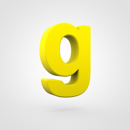 Plastic letter G lowercase. 3D render yellow plastic font isolated on white background. Stock Photo