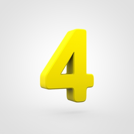 Plastic number 4. 3D render yellow plastic font isolated on white background.