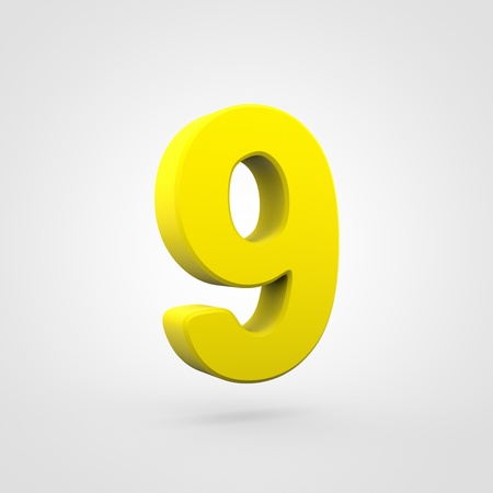 Plastic number 9. 3D render yellow plastic font isolated on white background.