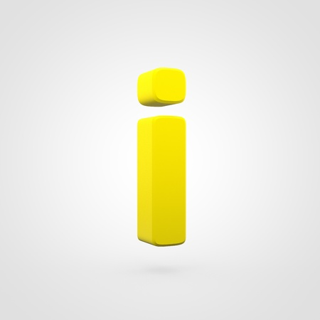 Plastic letter I lowercase. 3D render yellow plastic font isolated on white background.