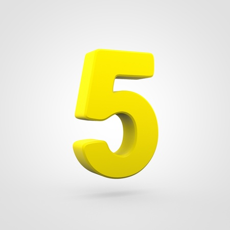 Plastic number 5. 3D render yellow plastic font isolated on white background.
