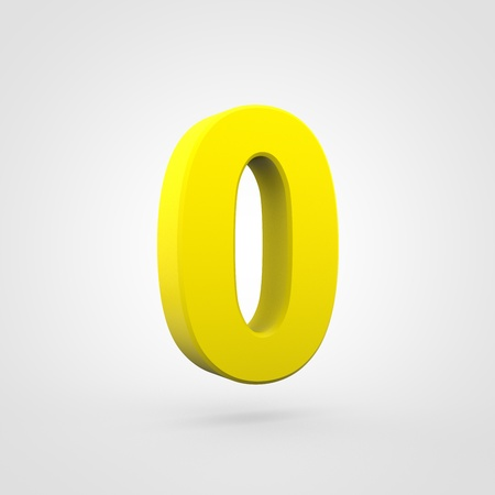 Plastic number 0. 3D render yellow plastic font isolated on white background.