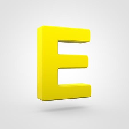 Plastic letter E uppercase. 3D render yellow plastic font isolated on white background.