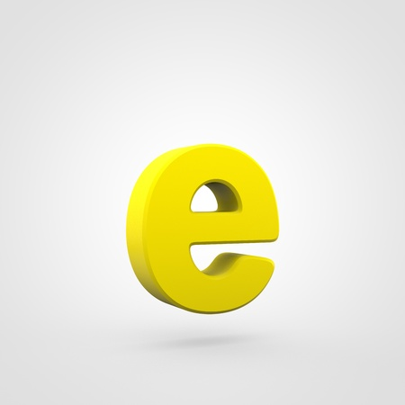 Plastic letter E lowercase. 3D render yellow plastic font isolated on white background. Stock Photo