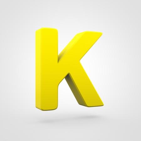 Plastic letter K uppercase. 3D render yellow plastic font isolated on white background.